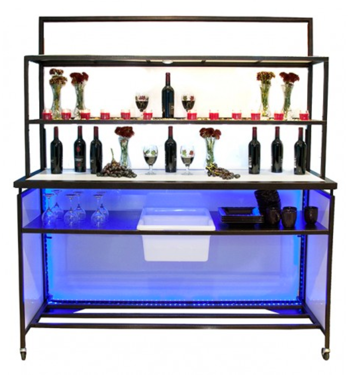 Portable folding back bar setup