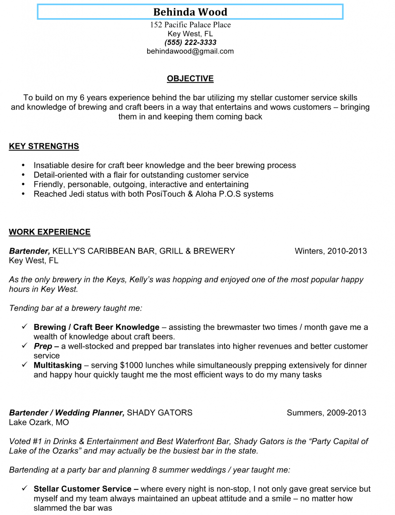 Real World Sample Bartender Resume **  Customer Service Example Resume
