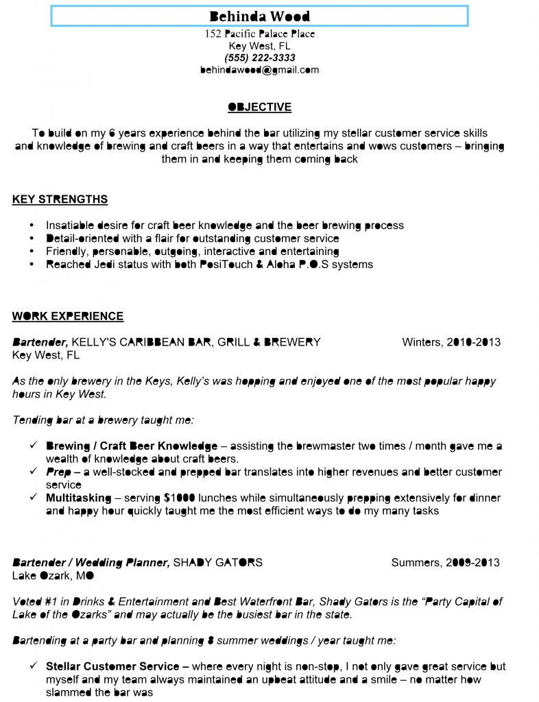awesome sample bartender resumebars and bartendingsample bartender resume
