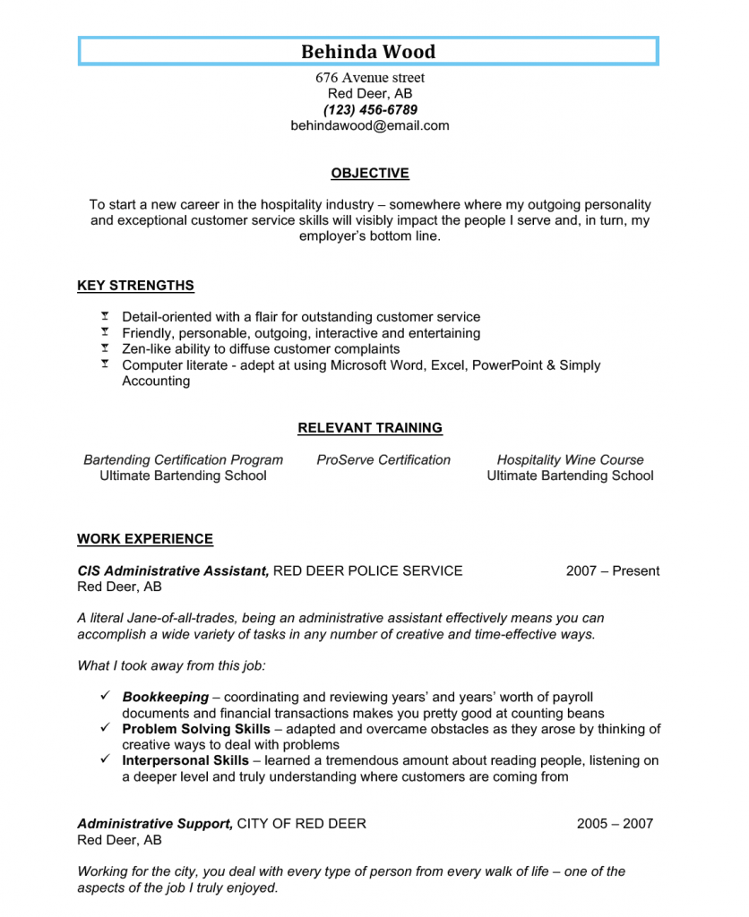 sample bartending resume 2