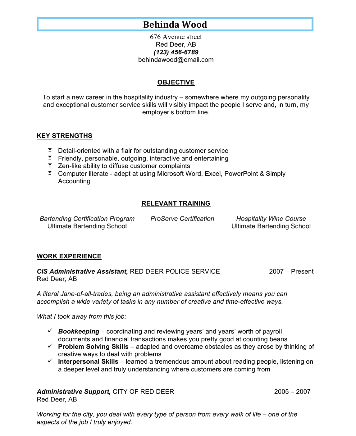 Bartending Resume Example #1 U2013 No Bar Experience