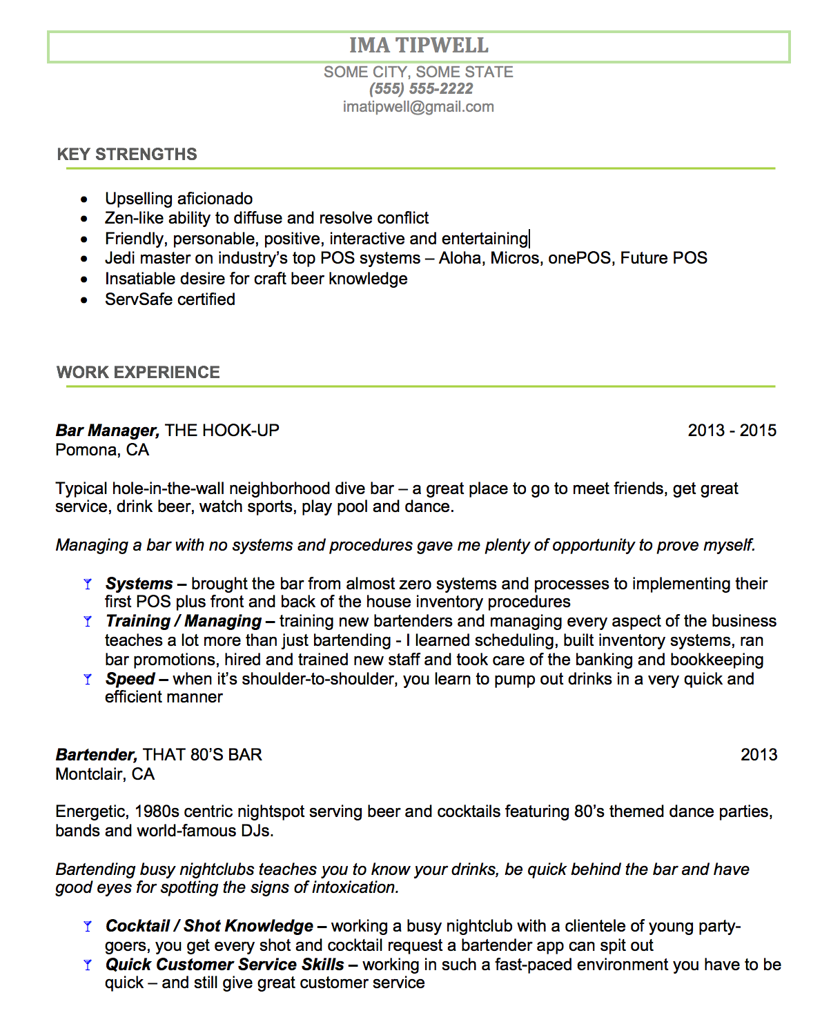 Good Bartending Resume Example #2 U2013 With Industry Experience  Bar Tender Resume