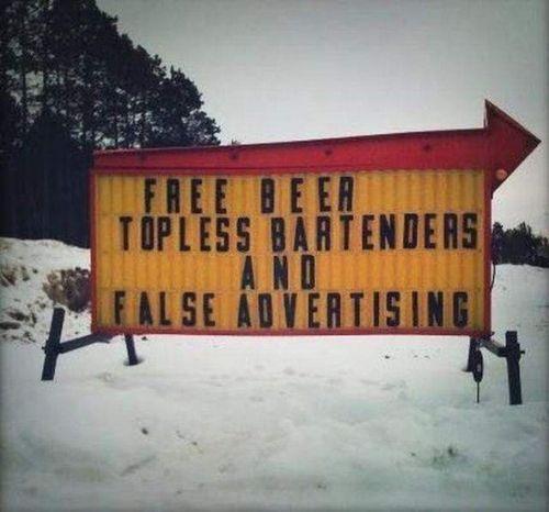 bar humor - free beer sign