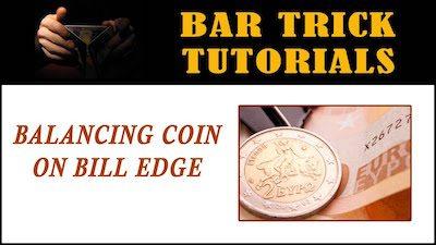 balancing coin on bill bar trick