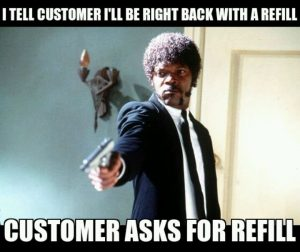 customer asks for refill meme