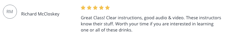 Cocktail Mastery Testimonial 2