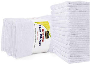 Towels 12 Pack Kitchen Bar Mops Towels 16 x 19 Inches White Bar Towels